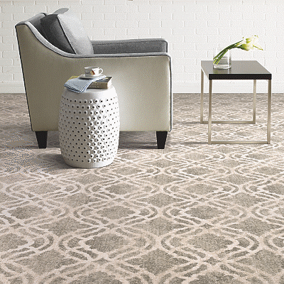 patterned carpet with chair