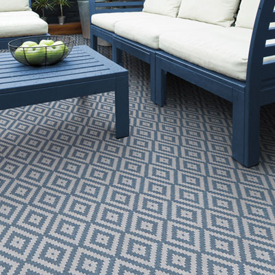 blue and grey diamond pattern rug