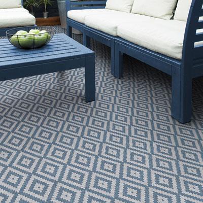 blue and grey diamond pattern rug
