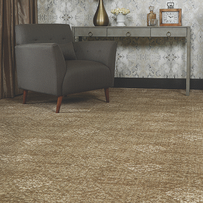 deep gold colored carpet in living room