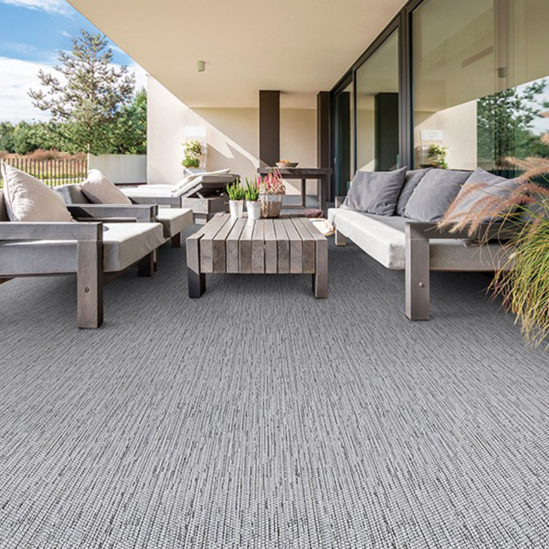 grey outdoor carpet with grey wooden outdoor furniture