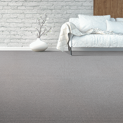 modern wool carpet with white sofa in the background