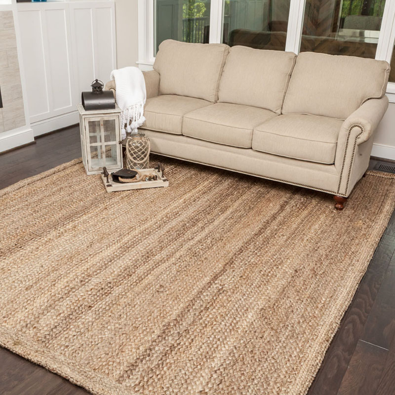 jute area rug in living room
