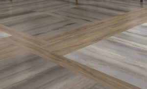 two tone grey and brown resilient flooring