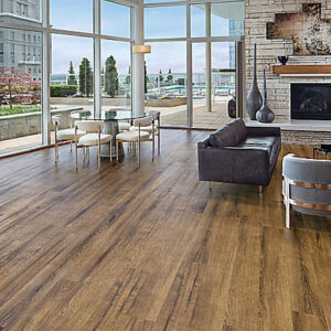 brown resilient flooring in living room
