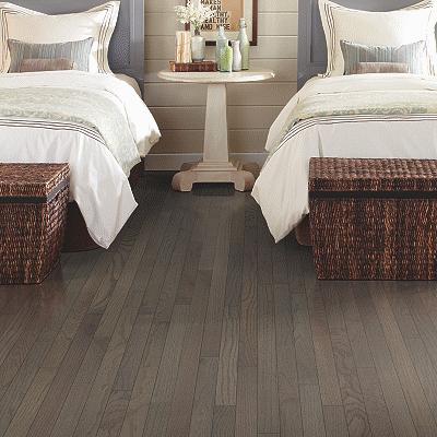 dark hardwood floor in bedroom