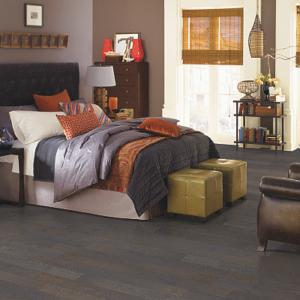 dark brown hardwood floor in bedroom