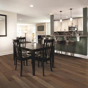 dark brown luxury vinyl tile in dining room