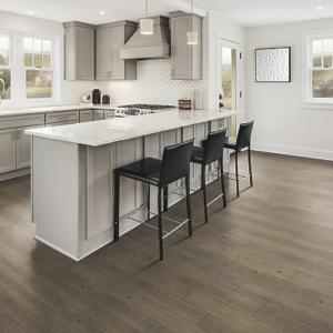 brown luxury vinyl tile in kitchen