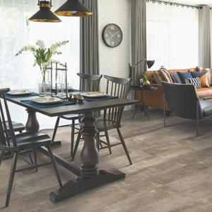 warm brown luxury vinyl tile in dining room