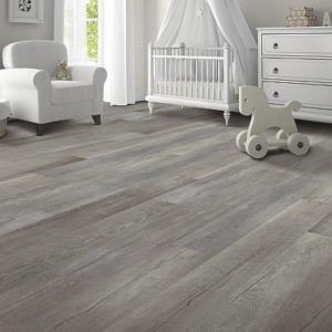 warm grey luxury vinyl tile in baby's room