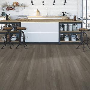 dark brown luxury vinyl tile in kitchen