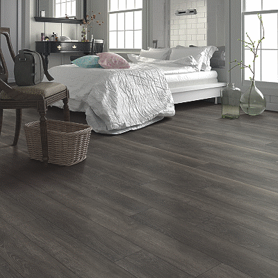 dark warm grey luxury vinyl tile flooring
