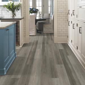 warm grey luxury vinyl tile in kitchen