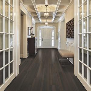 dark brown luxury vinyl tile in hallway
