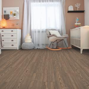 brown luxury vinyl tile in baby's room