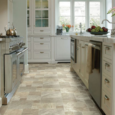 light tan sheet vinyl floors in kitchen