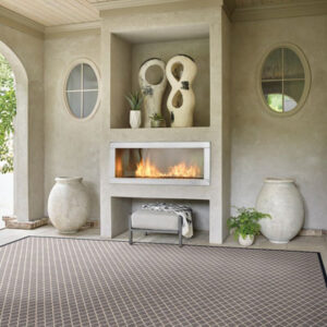 diamond pattern area rug in dining room
