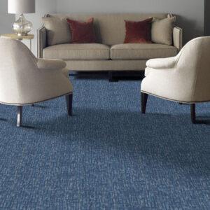 blue carpet tile in living room