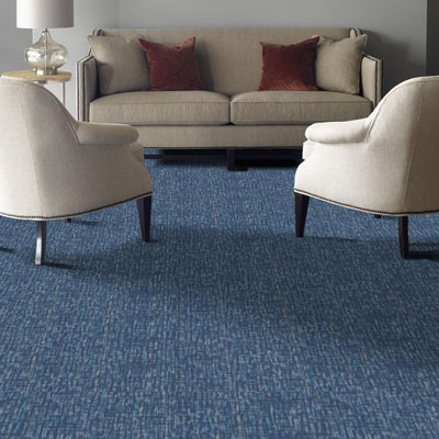 blue textured carpet tiles