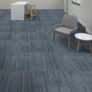 blue carpet tile with chair