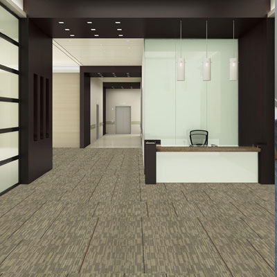 modern grey carpet tiles in office setting
