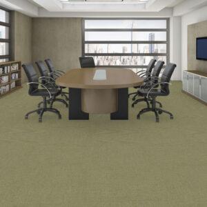 green carpet tile in office