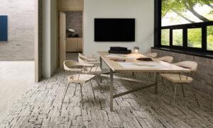 patterned carpet tile in dining room