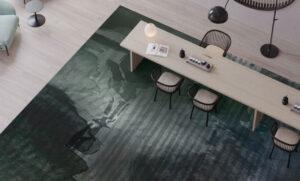 modern commercial carpet dark green