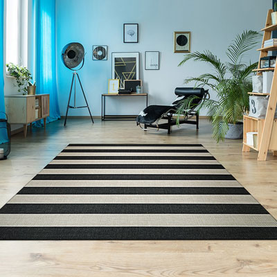 black and tan striped area rug