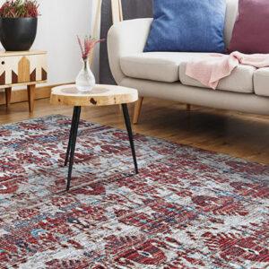 burgundy and grey area rug