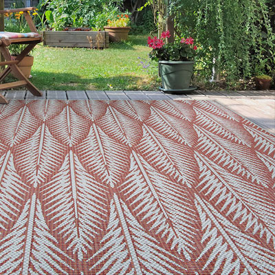 burgundy palm leaf area rug