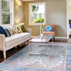 muted colors area rug, navy, orange and grey
