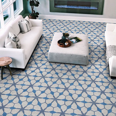 blue patterned carpet in living room
