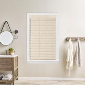 natural wood blinds in bathroom