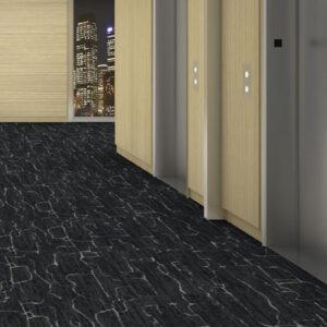 dark carpet tile hallway