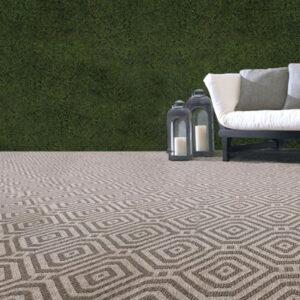 dark grey geometric pattern outdoor rug
