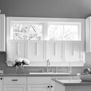 white shutters in kitchen