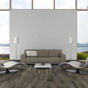 dark grey hardwood floors in living room