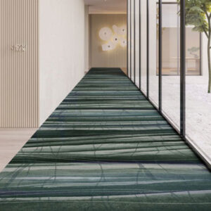 hallway with green pattern commercial carpet
