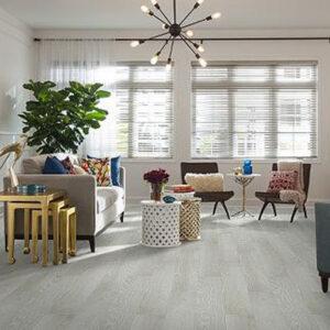 living room with light grey laminate flooring