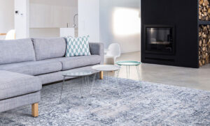 large area rug with blue tones