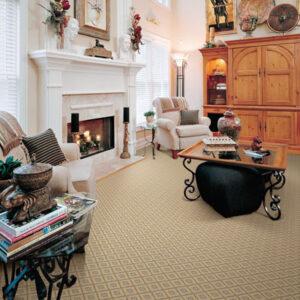 tan diamond pattern area rug in living room