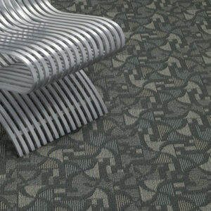 metal chair with grey pattern commercial carpet