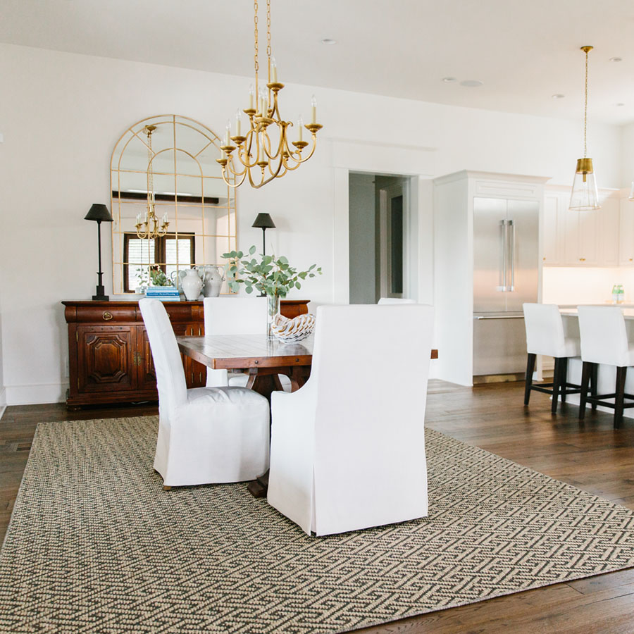 sisal area rug in dining room