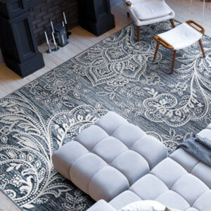 navy area rug with white pattern