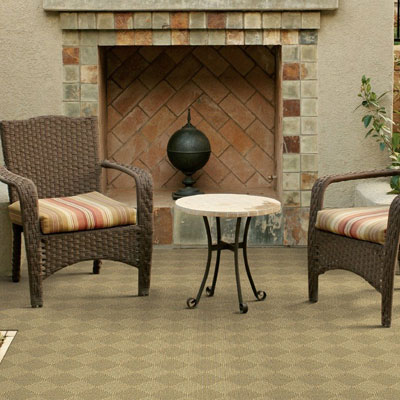 tan checker pattern indoor/outdoor rug