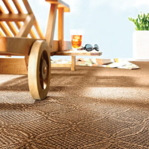 outdoor rug with teak chair