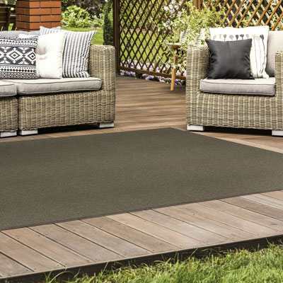 dark brown indoor/outdoor rug