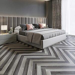 grey herringbone resilient flooring